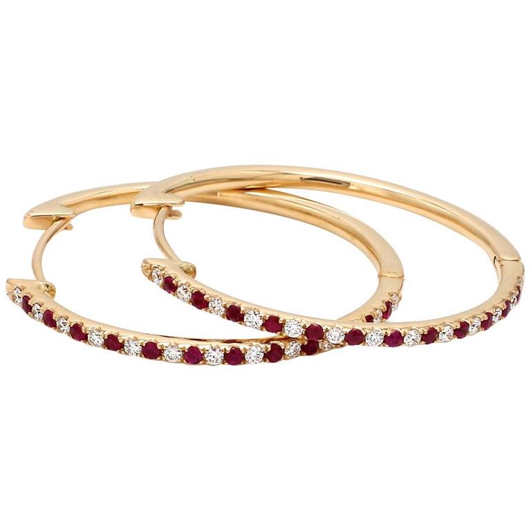 18 Karat Yellow Gold Ruby Diamond Hoop Earring For Sale