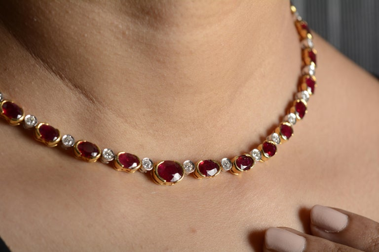Women's 18 Karat Yellow Gold Ruby Diamond Necklace Set For Sale