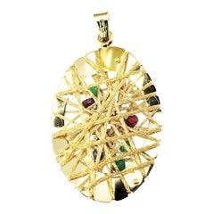 18 Karat Yellow Gold, Ruby, Emerald and Sapphire Pendant