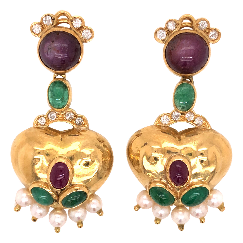 18 Karat Yellow Gold Ruby Emerald Diamond Earrings