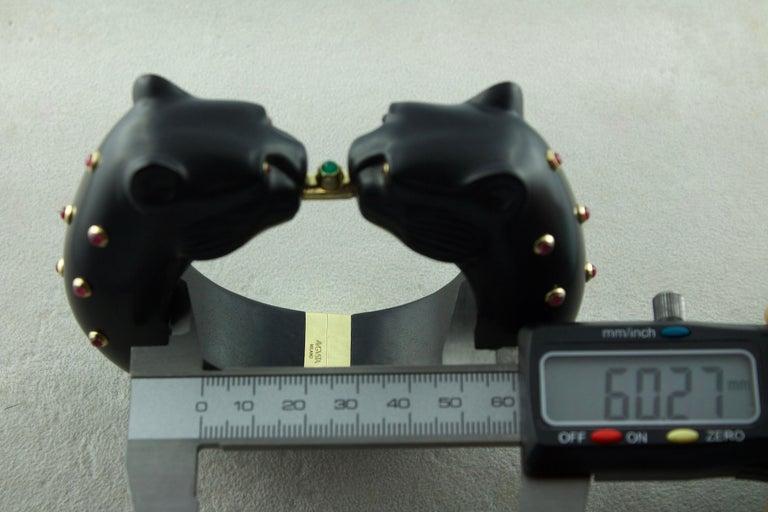 Women's or Men's 18 Karat Yellow Gold Ruby Emerald Wood Black Panthers Bangle Bracelet For Sale