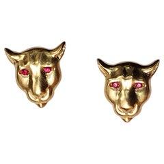 18 Karat Yellow Gold Ruby Eyes Colorado Cougar Stud Earrings