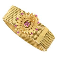 18 Karat Yellow Gold Ruby Flower Slide Mesh Bracelet