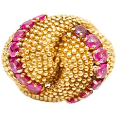 18 Karat Yellow Gold Ruby Italian Domed Ring