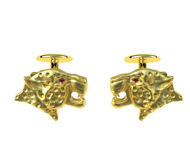 18 Karat Yellow Gold Ruby Leopard Cufflinks, These come from my Feline Collection. I am fascinated with all kinds of wild cats. The leopard can reach a speed of 60 km.h  or 40 mph, but only for a limited time before overheating.  These ruby's are A