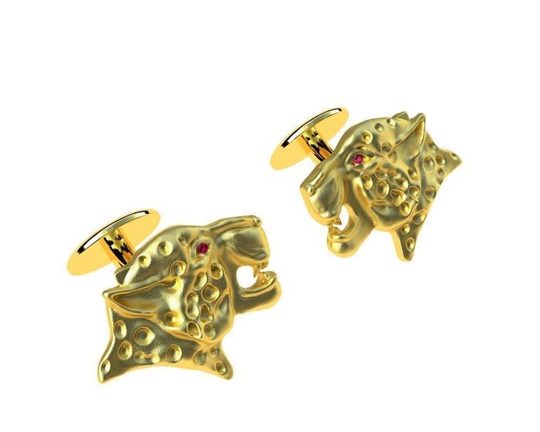 Contemporary 18 Karat Yellow Gold Ruby Leopard Cufflinks For Sale
