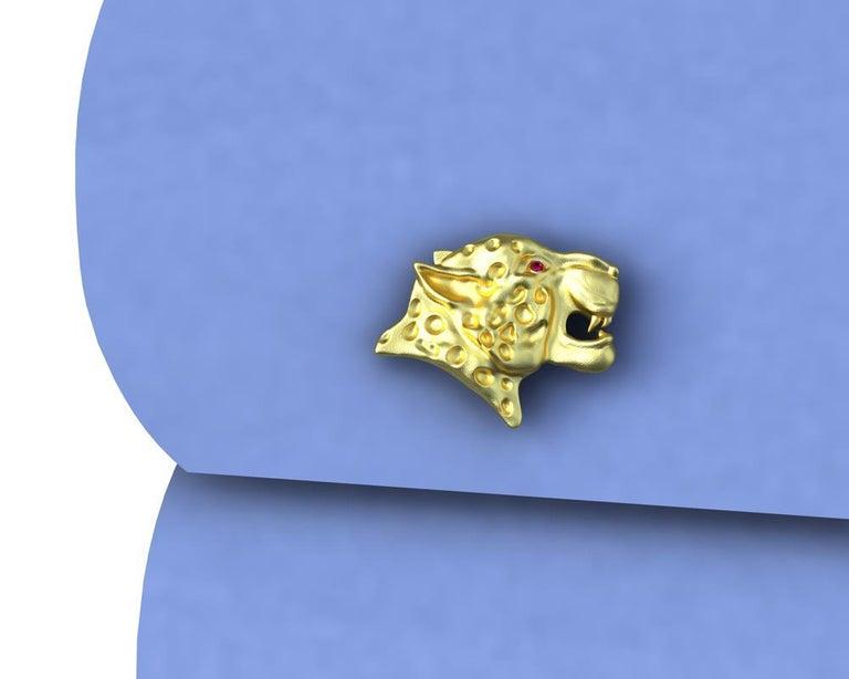 18 Karat Yellow Gold Ruby Leopard Cufflinks For Sale 1