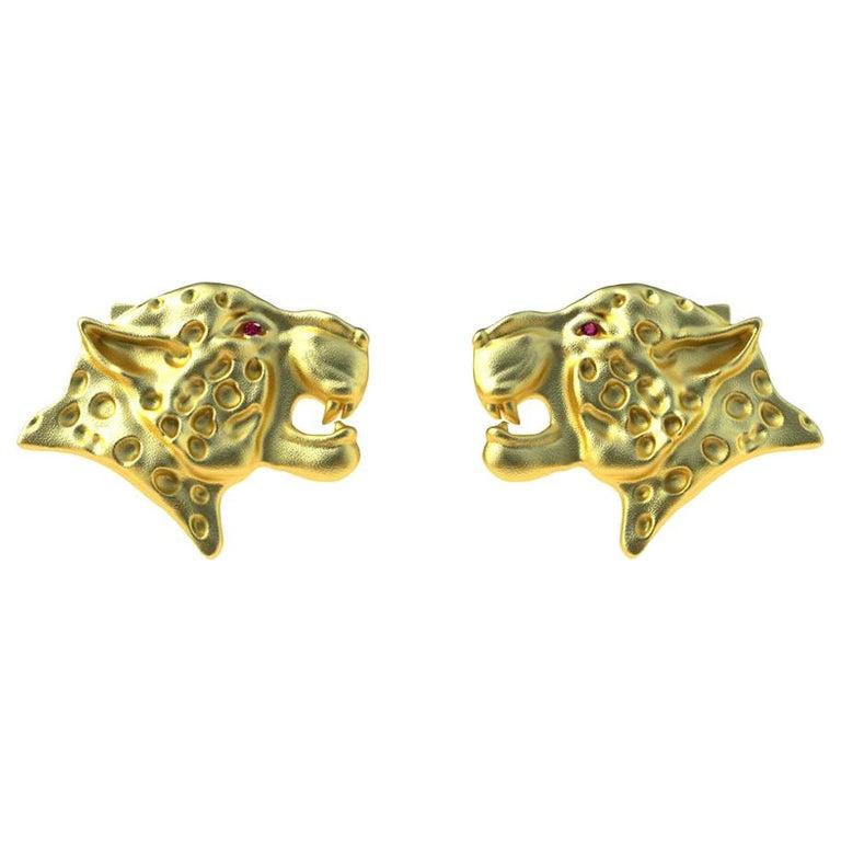 18 Karat Yellow Gold Ruby Leopard Cufflinks For Sale