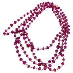 Rossella Ugolini 34,5 karats Red Ruby 18 Karat Yellow Gold Links Beaded Necklace