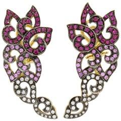 18 Karat Yellow Gold Ruby Pink Sapphire and Diamond Kashmir Swirl Earrings