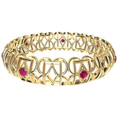 18 Karat Yellow Gold Ruby Rectangle Rhombus Bangle
