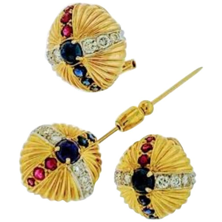 18 Karat Yellow Gold Ruby Sapphire and Diamond Earring and Stick Pin Set Estate For Sale