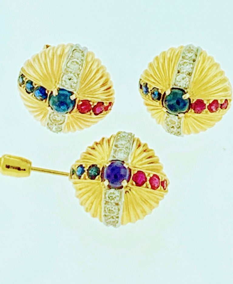 Women's 18 Karat Yellow Gold Ruby Sapphire and Diamond Earring and Stick Pin Set Estate For Sale