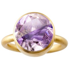 18 Karat Yellow Gold Rutile Quartz and Ametrine Two-Stone Modern Cocktail Ring