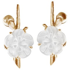 18 Karat Yellow Gold Sakura Cocktail Earrings by the Artist