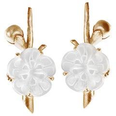 18 Karat Yellow Gold Sakura Cocktail Earrings