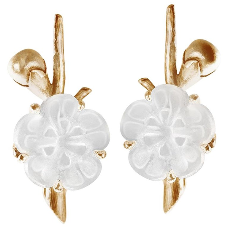 14 Karat Yellow Gold Sakura Cocktail Earrings by the Artist For Sale