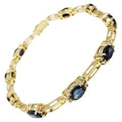 18 Karat Yellow Gold Sapphire and Diamond Bracelet