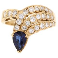 18 Karat Yellow Gold, Sapphire and Diamond Cocktail Ring