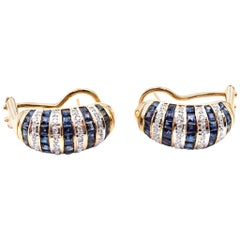 18 Karat Yellow Gold Sapphire and Diamond Domed Channel Set Earrings