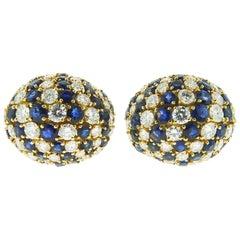 18 Karat Yellow Gold Sapphire and Diamond Earrings