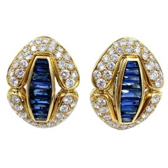 18 Karat Yellow Gold Sapphire and Diamond Earrings