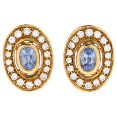 18 Karat Yellow Gold, Sapphire and Diamond Earrings