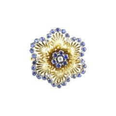 18 Karat Yellow Gold Sapphire and Diamond Flower Brooch