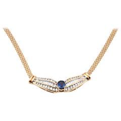 18 Karat Yellow Gold Sapphire and Diamond Mesh Collar Necklace