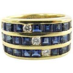 18 Karat Yellow Gold Sapphire and Diamond Ring