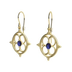 18 Karat Yellow Gold Sapphire Arabesque Earrings