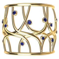 18 Karat Yellow Gold Sapphire Cuff Bracelet