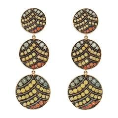 18 Karat Yellow Gold Sapphire Deco Life Triple Ear Dangle Drop Earrings