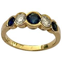 18 Karat Yellow Gold Sapphire, Diamond (Brillant) Ring, Germany, 1980