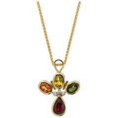 18 Karat Yellow Gold Sapphire Garnet and Tourmaline Diamond Necklace