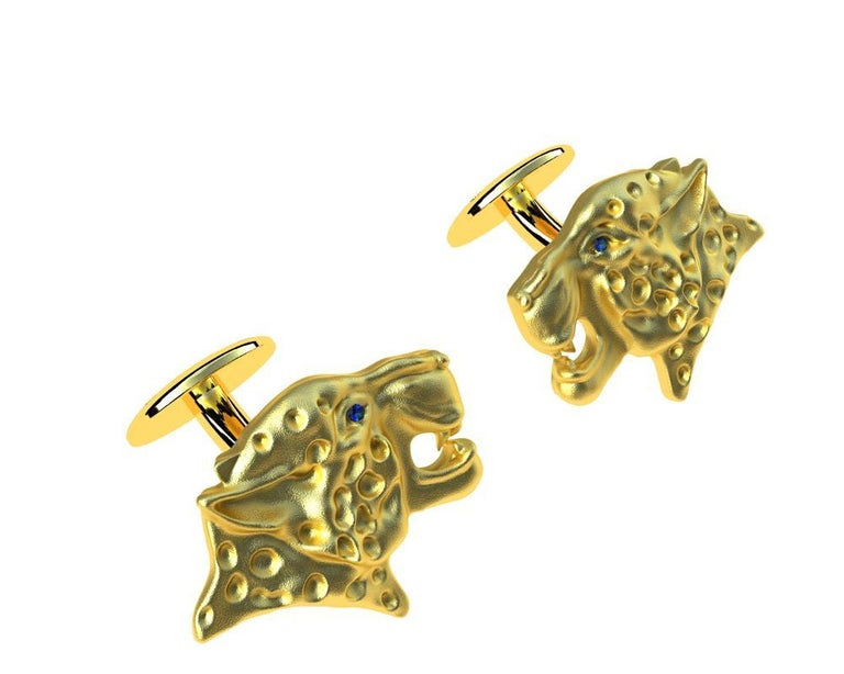 18 Karat Yellow Gold Sapphire Leopard Cufflinks, These come from my Feline Collection. I am fascinated with all kinds of wild cats. The leopard can reach a speed of 60 km.h  or 40 mph, but only for a limited time before overheating.  These sapphires