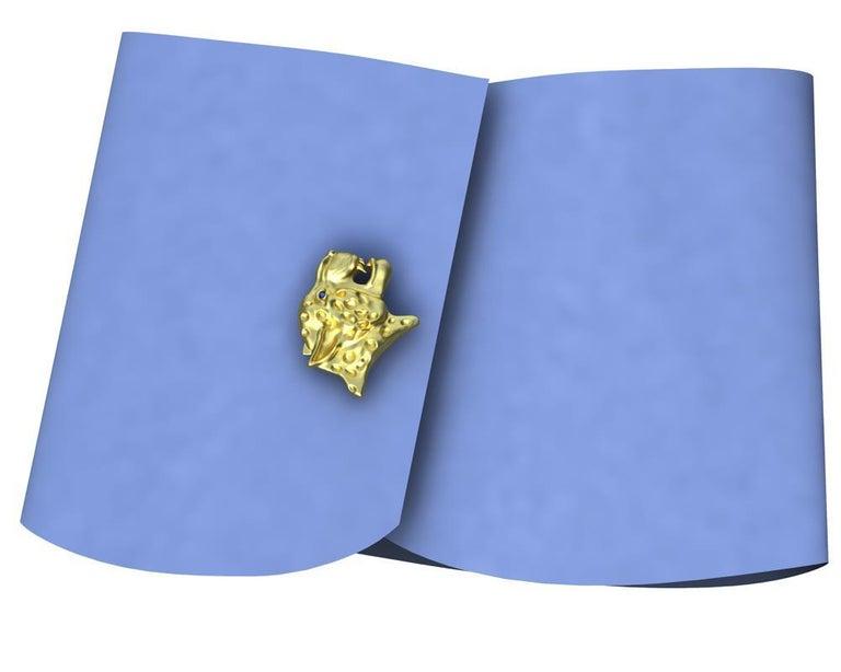 18 Karat Yellow Gold Sapphire Leopard Cufflinks For Sale 1