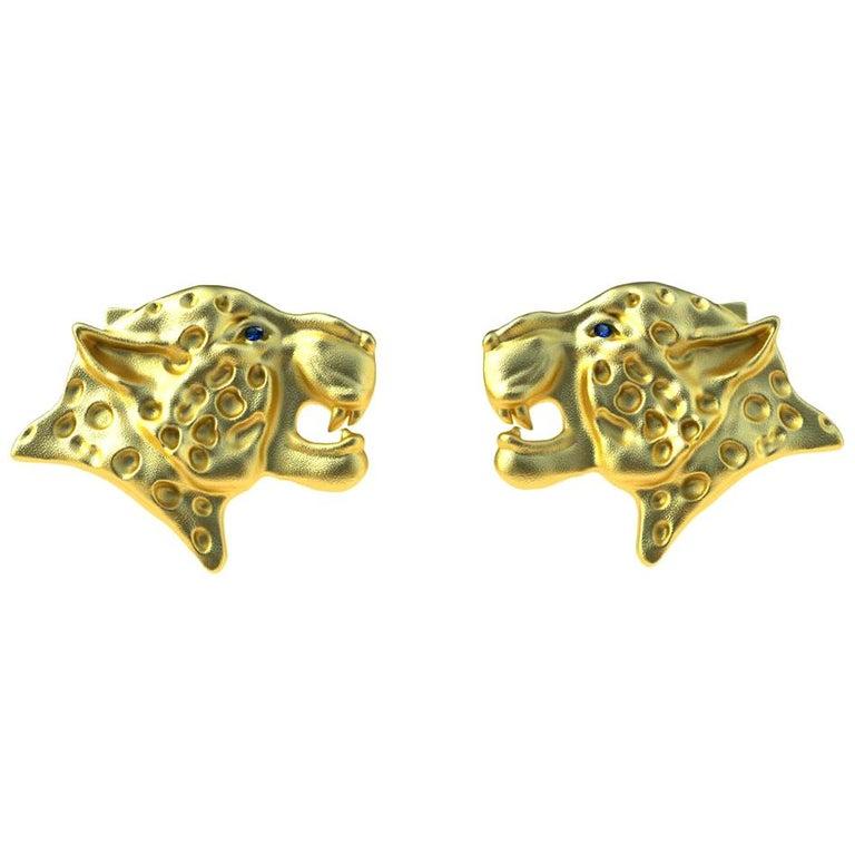 18 Karat Yellow Gold Sapphire Leopard Cufflinks For Sale