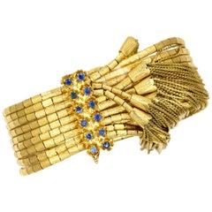 18 Karat Yellow Gold Sapphire Multi-Strand Bracelet