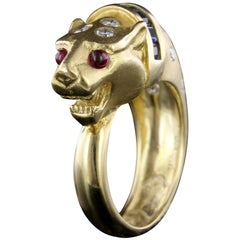 18 Karat Yellow Gold Sapphire, Ruby and Diamond Lion Head Ring