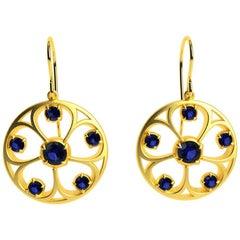 18 Karat Yellow Gold Sapphires 5 Petal Flower Earrings