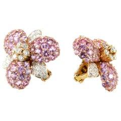 18 Karat Yellow Gold Sapphire Diamond Flower Romantic Stud Lever Back Earrings