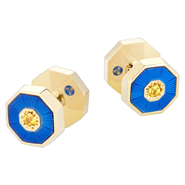 18 Karat Yellow Gold Sapphires Guilloche Enamel Dome Double-Sided Cufflinks For Sale
