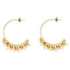 18 Karat Solid Yellow Gold Handmade Satin Finish Pearl Hoop Earrings