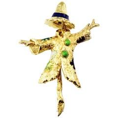 18 Karat Yellow Gold Scarecrow Brooch / Pin