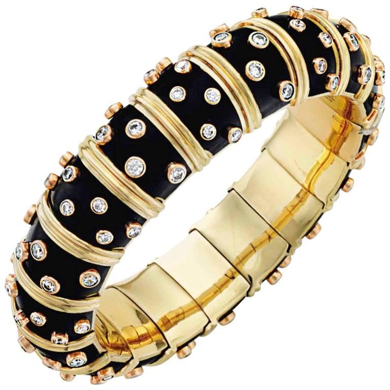 18 Karat Yellow Gold Schlumberger Diamond Black Enamel Bangle For Sale