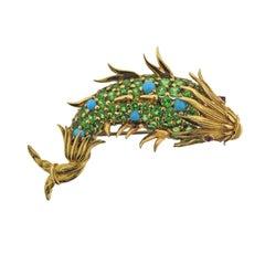 18 Karat Yellow Gold Schlumberger Fish Brooch