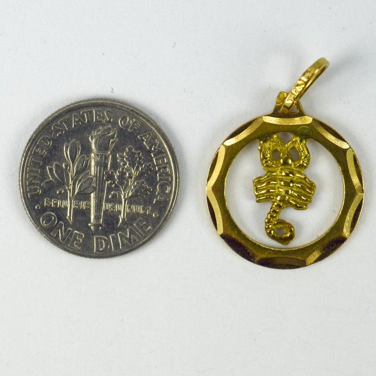 18 Karat Yellow Gold Scorpio Zodiac Charm Pendant For Sale 2