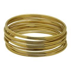 18 Karat Yellow Gold Set of 14 Bangles