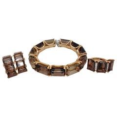 18 Karat Yellow Gold Set Ring, Earrings, Bracelet with Smoky Quartz, Diamonds
